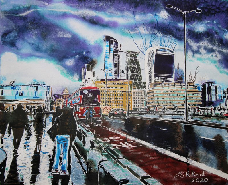 In this London Bridge Painting, the people ignore you. They're wet, focused on their journey and avoiding the puddles, following a heavy downpour. Painting of London Bridge with pedestrians walking about, traffic crossing the bridge and the Walkie Talkie and Cheesegrater-©2020-Cathy-Read-Watercolour-and-Acrylic-41-x-50.6-cm