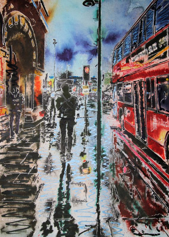 Painting of a London Street by St Pancras Station with puddles, a bus and figures walking with reflections in the puddles.