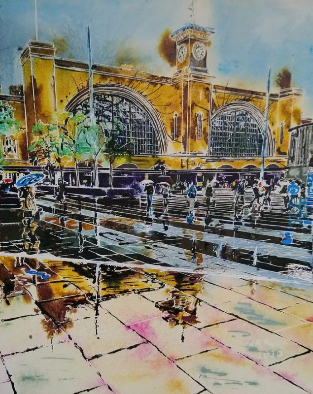 Painting of the Forecourt of Kings Cross Station on a rainy day with reflectiosn and puddles
