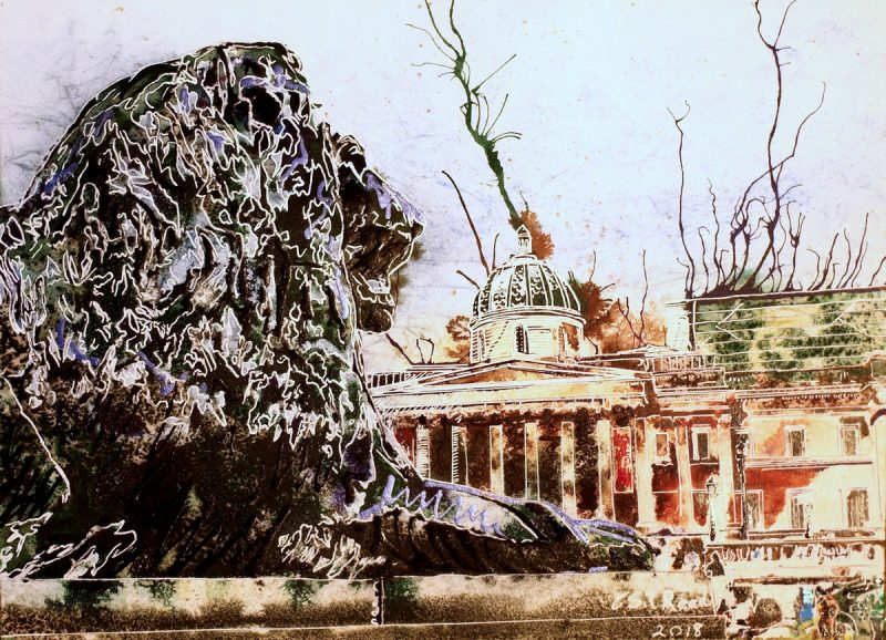 The lions stand guard around at Nelson's Column in this Trafalgar Square painting
