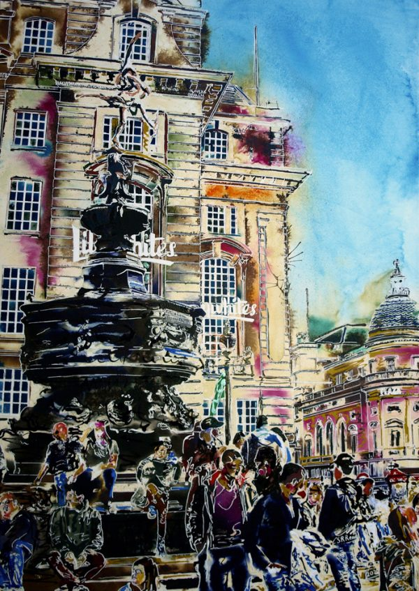 Painting of Piccadilly Circus with Anteros Sculpture and people milling around.