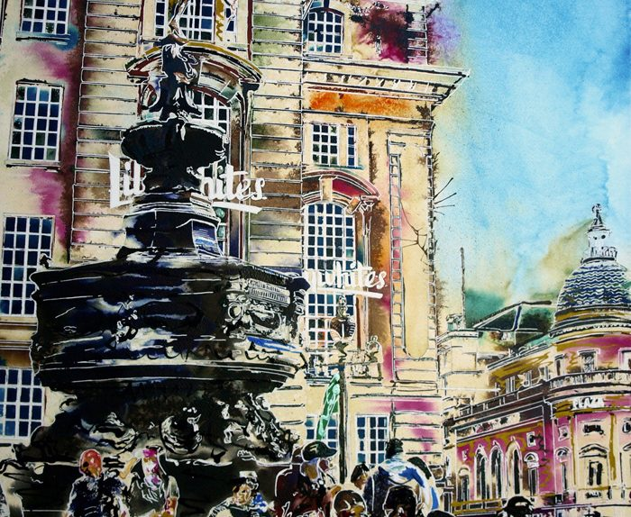 Painting of Piccadilly Circus with Eros Sculpture and people milling around.