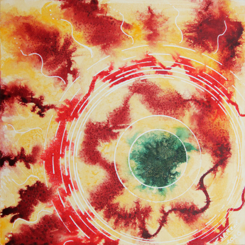Abstract painting based on circles in orange and yellow with a touch of green.