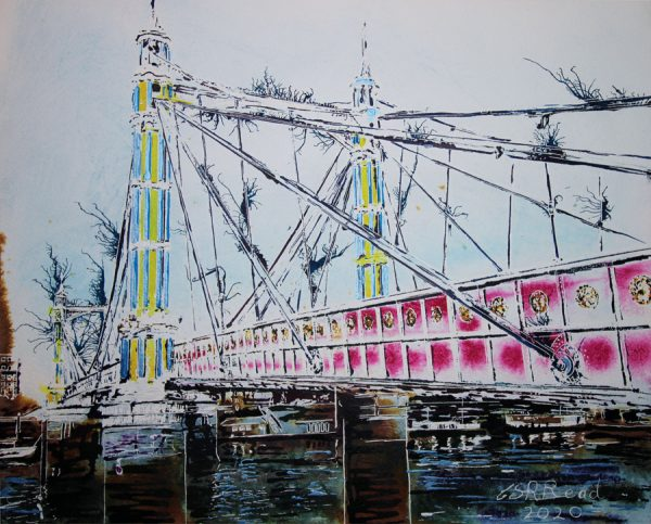 Painting of Albert Bridge over the River Thames in London