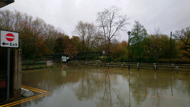 Flooded Car park in Buckingham. Resorting to plan B is the only option.
