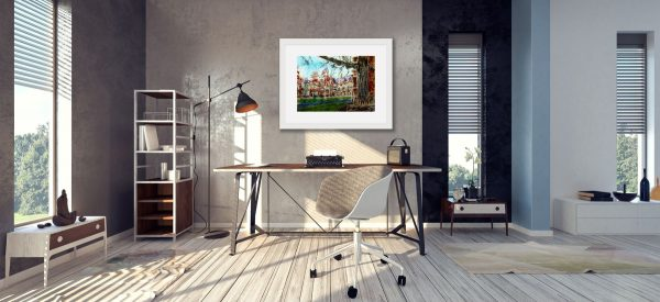 Room setting featuring Oxford, Keble College Pusey Quad Painting