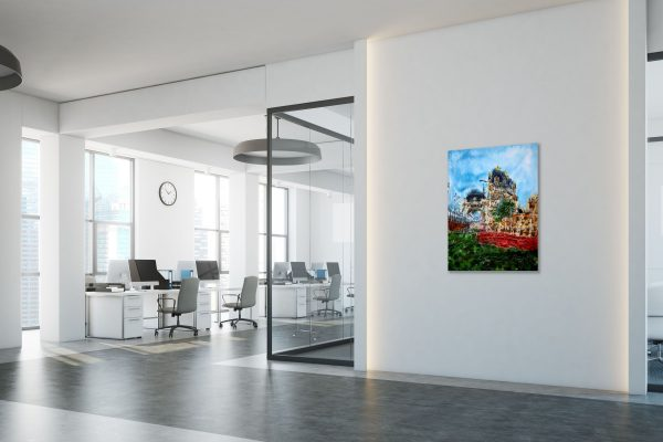 Room setting with a painting of Tower Bridge and the poppies