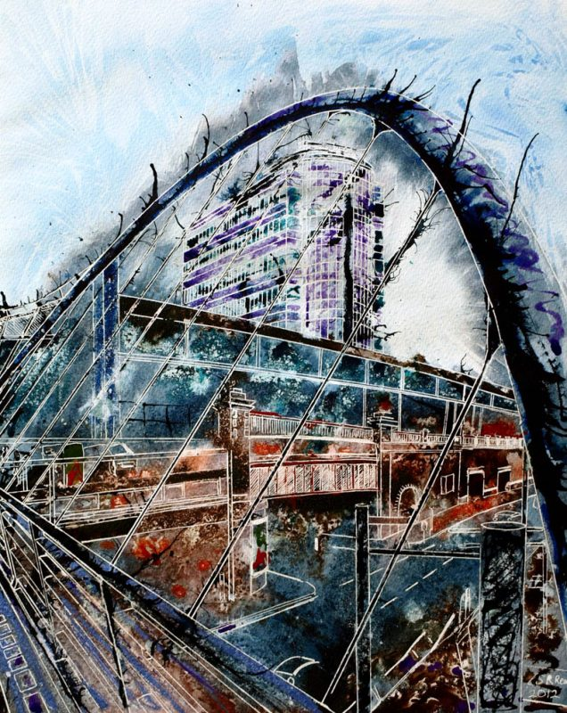 Painting Home. Painting of Manchester's Piccadily Station and the footbridge leading to the main entrance.