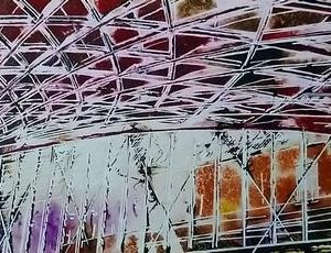 Painting of Kings Cross Station Roof in pink lighting #KingsCrossPainting #OriginalArt