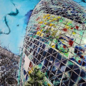 Painting of the Gherkin in rainbow colours.