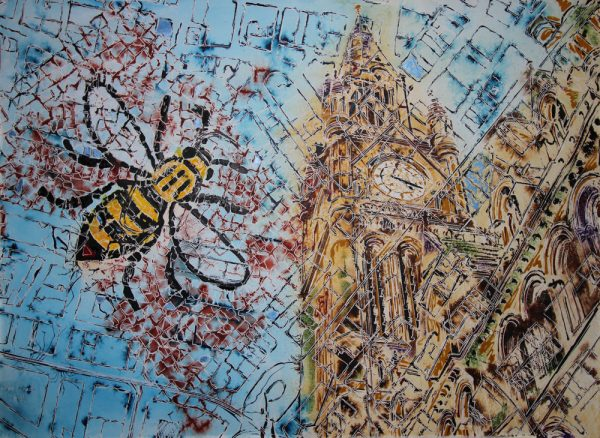 Painting of Manchester featuring the Town Hall, an old map and one of the bees from the Great Hall.