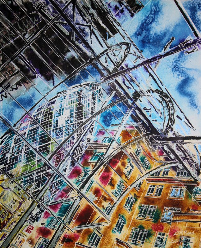 Painting of the Awning in front of the Lloyds building looking at the Gherkin and London's financial district.