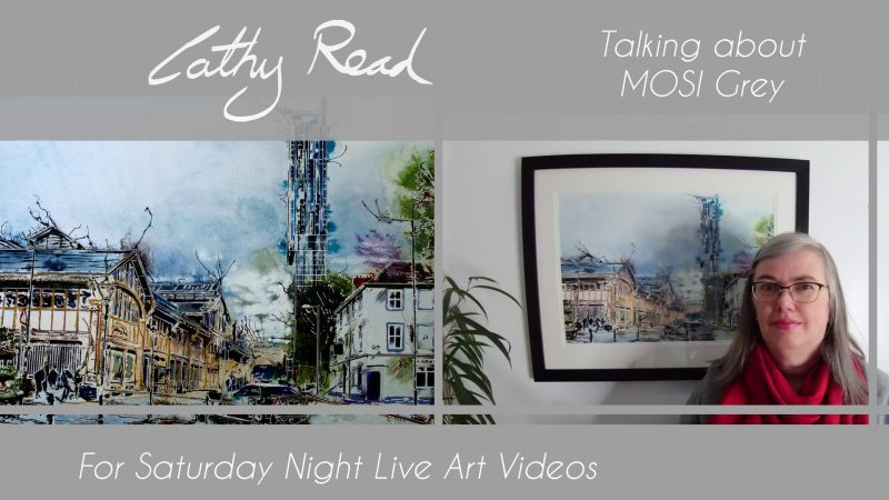 Video Title for an artist talk on MOSI Grey a painting of Manchester featuring the museum of Science and industry and Beethams Tower.