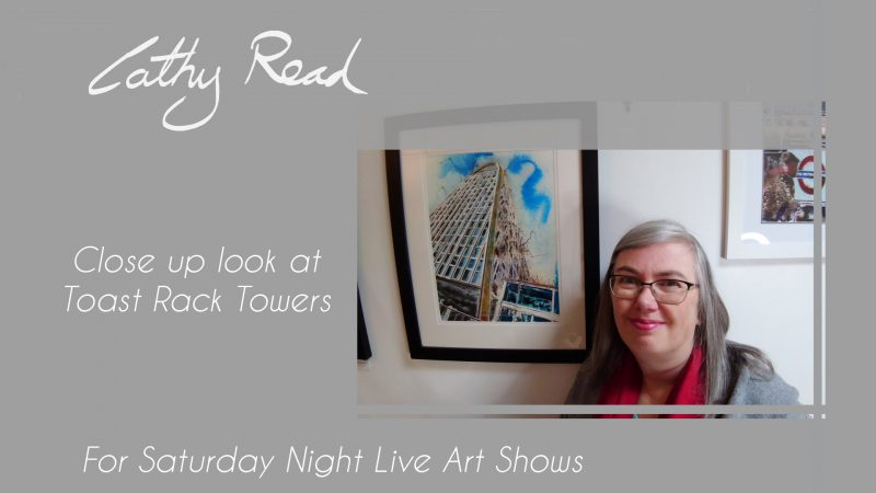 Contemporary Manchester Paintings of Toast Rack Towers painting of the Hollings building by Cathy Read