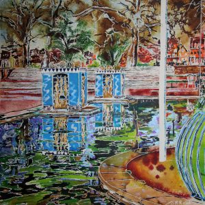 Painting of Reflections in the pond at Battersea Park by Cathy Read