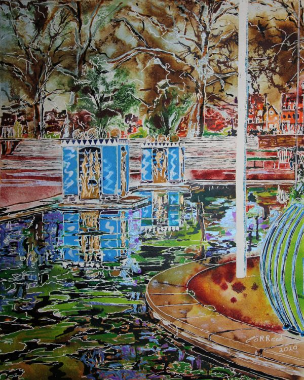 Painting of reflections in the pond at Battersea Park by Cathy Read.
