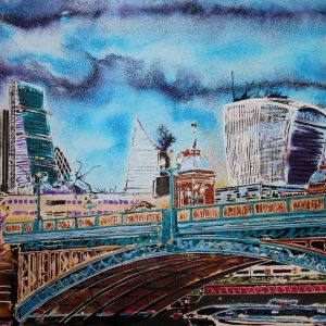 Cathy Read captures the beauty of Southwark Bridge in a city scape painting using watercolours and acrylic ink.