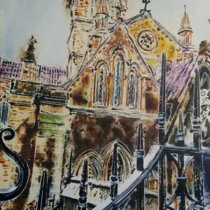 A Cathy Read painting of Southwark Cathedral, the oldest church building in London - a stunning gem tucked away in the city.