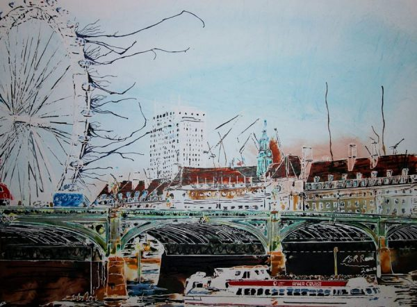 Contemporary watercolour and acrylic ink painting of Westminster Bridge & lively cityscape by Cathy Read.
