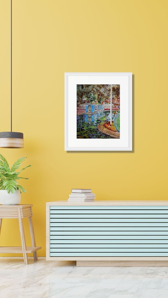 Painting of Battersea Park in a room setting with yellow walls