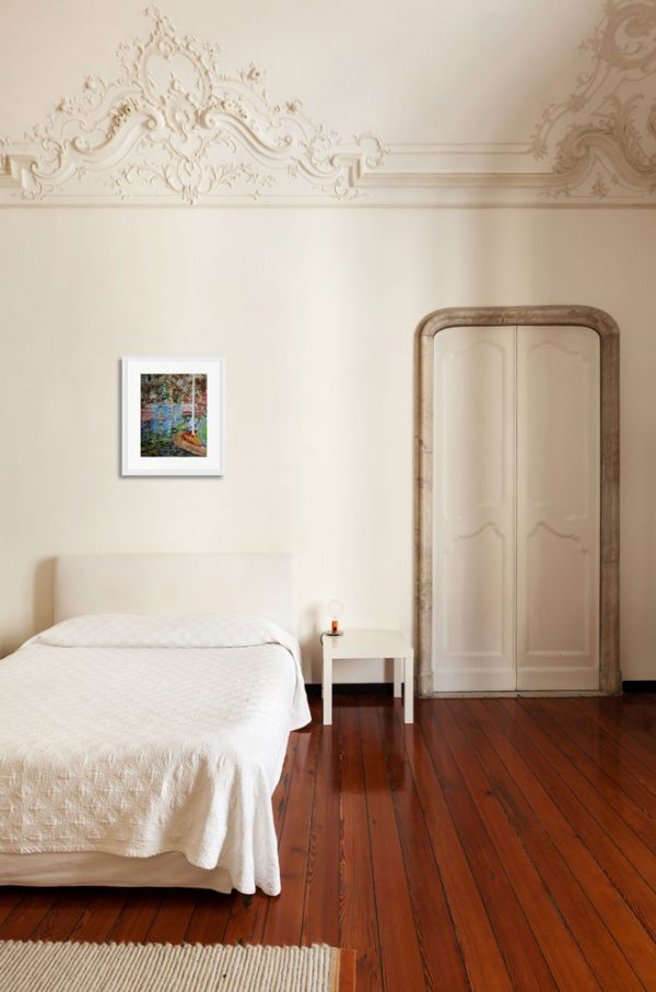 Painting of Battersea Park in a room setting with white walls