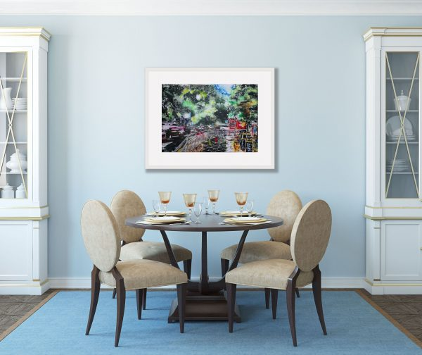 Room setting with Leaving Hammersmith Apollo Painting