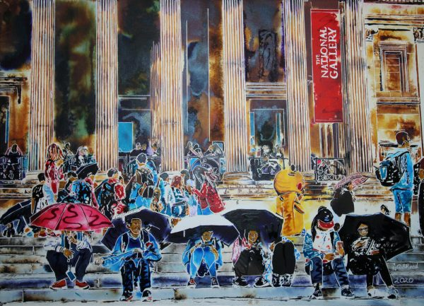 Cultural Exchange is a Cathy Read painting in watercolour and acrylic inks depicting tourists on the National Gallery steps in Trafalgar Square in London.