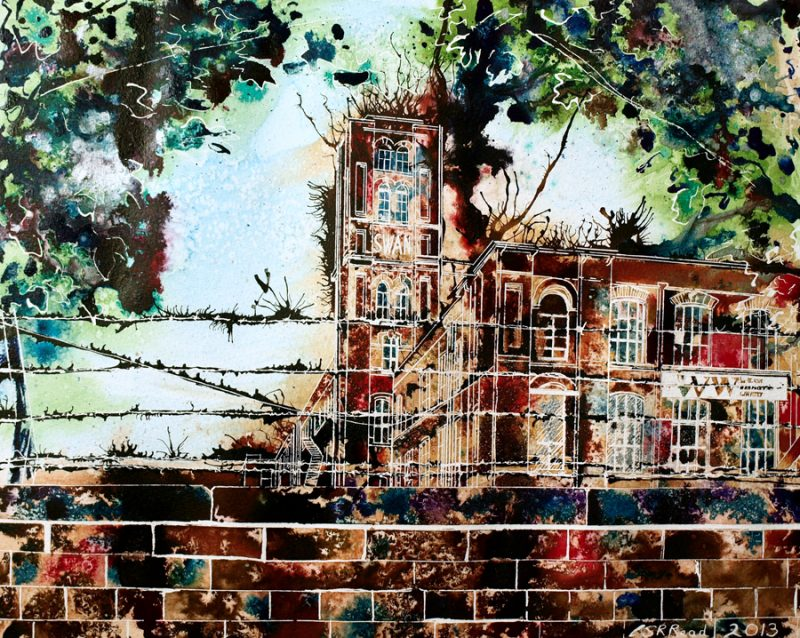 Painting of Swan Mill Cotton Mill in Manchester - ©2013 - Cathy Read - Watercolour and acrylic ink -40x50cm - SOLD