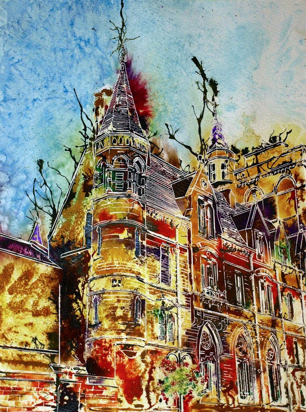 Balliol College original painting of the Oxford College - Looking uo at one of the corner turrets on Broad Street ©2014-Cathy Read-Watercolour and Acrylic-28x-38-cm
