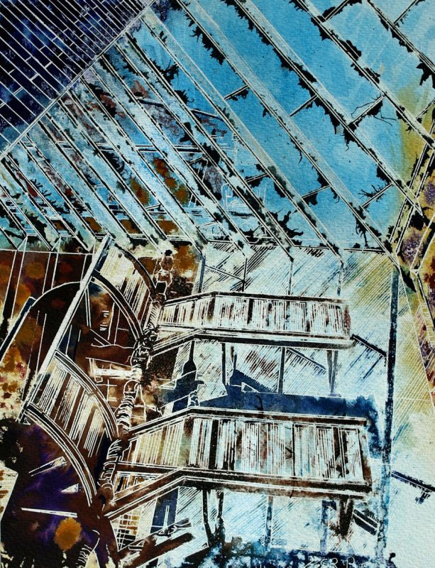 Painting of a wooden staircase that leads to nowhere. Stairway to Heaven - ©2014 - Cathy Read - Watercolour and Acrylic - 38x28 cm
