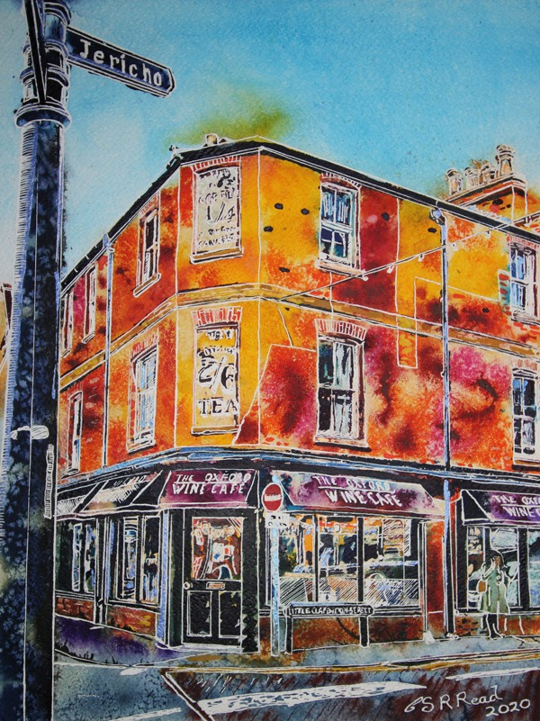 Painting of the Oxford Wine Cafe on the junction of Walton Street and Little Clarendon Street in Oxford. Commission pianting created by Cathy Read Artist