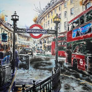 Painting of Regent Street in London by Cathy Read featuring red London buses and black taxis or cabs.