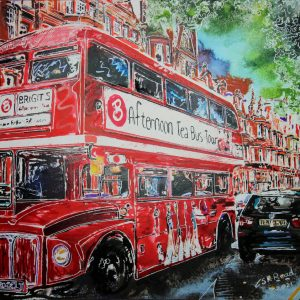 Painting of Lower Sloane Street with a Tea Bus, a bright red London Bus