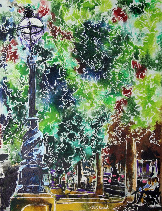 Watercolour and acrylic painting of the Embankment.