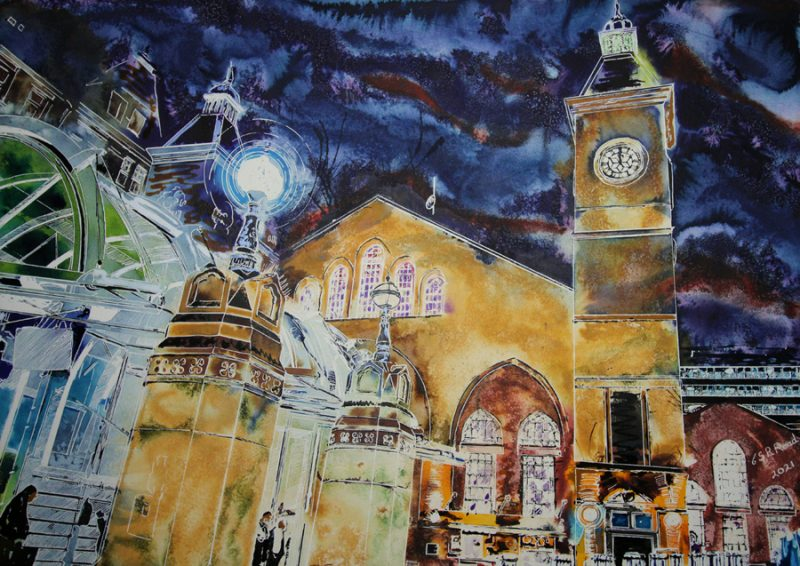 Original painting of Liverpool Street Station at Night by Cathy Read