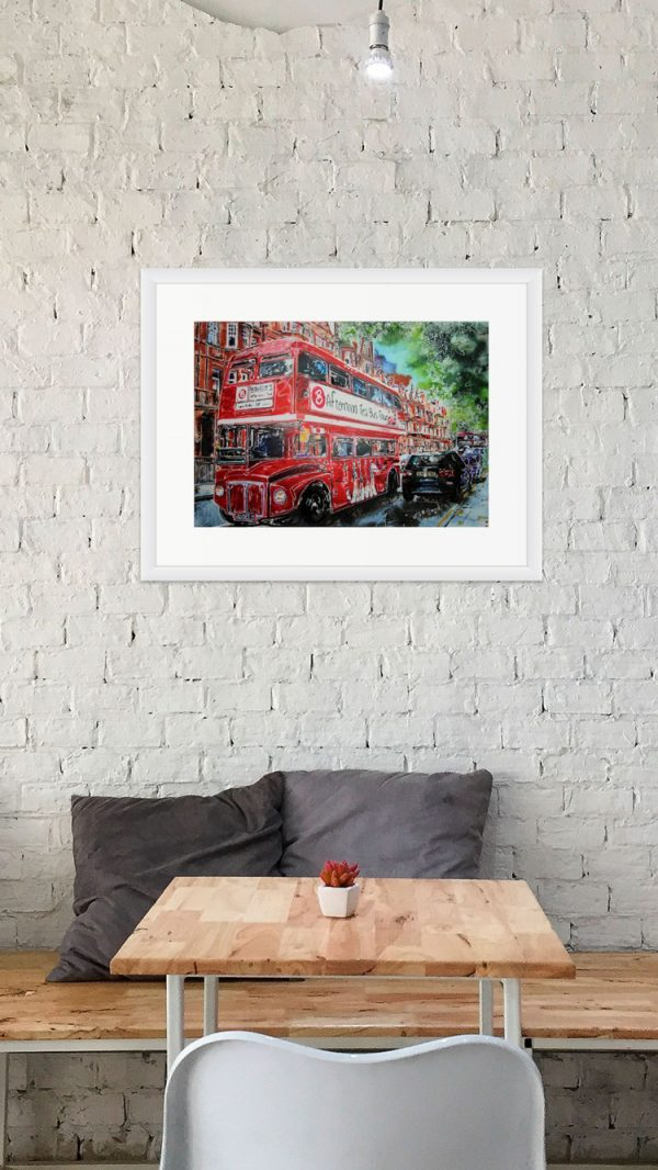 Room Setting with Painting of Brigits Tea Bus by Cathy Read