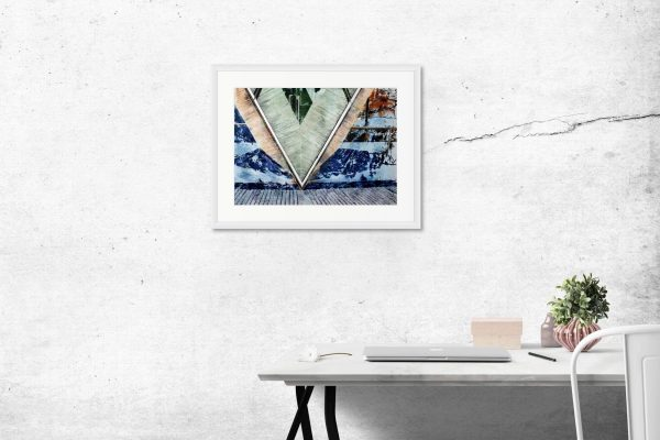 Room setting featuring Impossible Roots a London Abstract painting by Cathy Read