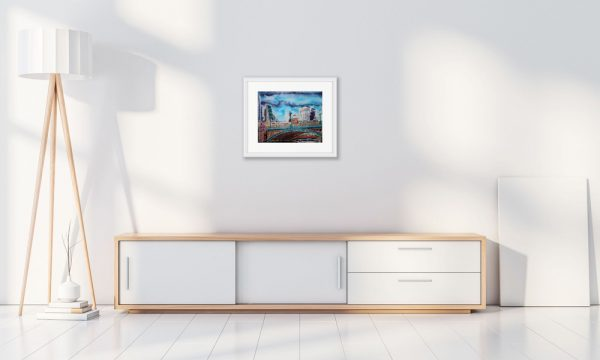 Room Setting with painting of Southwark Bridge by Cathy Read