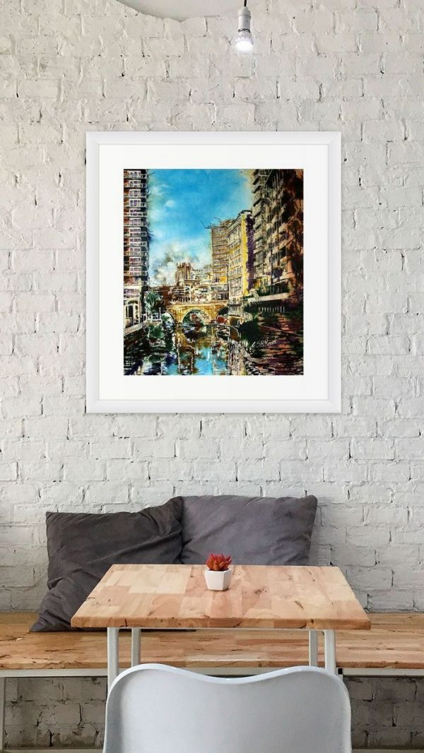 Irwell Reflections painting by Cathy Read in Room Setting