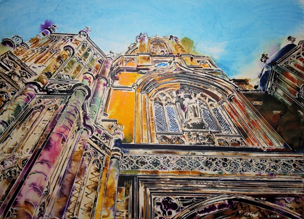 Original painting of Christ Church, Oxford Tom Tower - ©2021 - Cathy Read - Watercolour and Acrylic ink