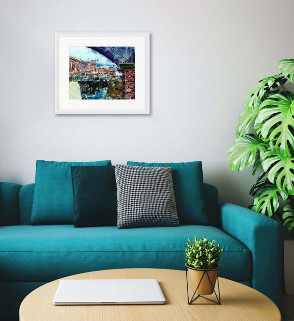 Castlefield Basin painting by Cathy Read in Room Setting