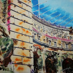 Original painting of Admiralty Arch - ©2020 - Cathy Read - Watercolour and Acrylic- 56 x 76cm