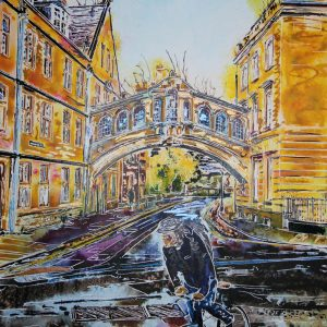 Hertford College, Oxford, Bridge of Sighs painting by Cathy Read