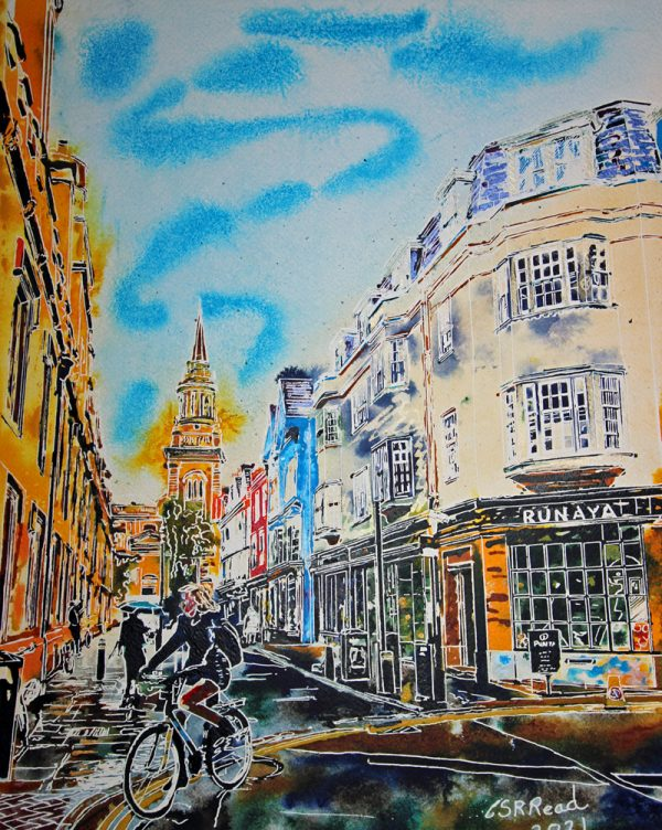 Painting of Turl Street at the Junction with Market Street by Cathy Read. Looking up Turl Street towards All Saints Church