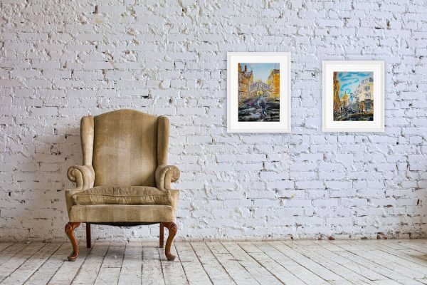 Bridge of Sighs and Turl Street TurnOxford paintings by Cathy Read in room setting