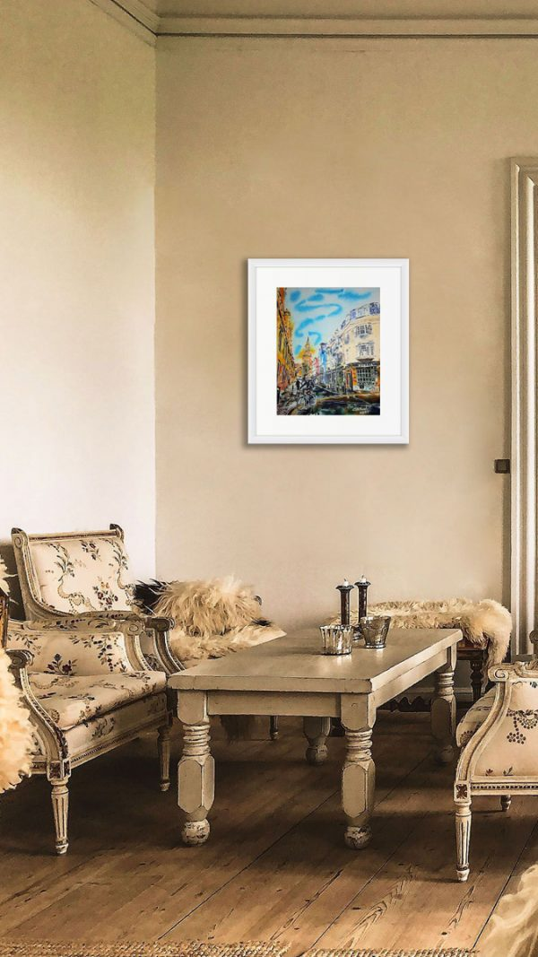 Turl Street Turn, Oxford paintings by Cathy Read in room setting