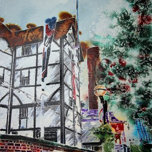 Globe Theatre - original watercolour and acrylic ink panel by Cathy Read