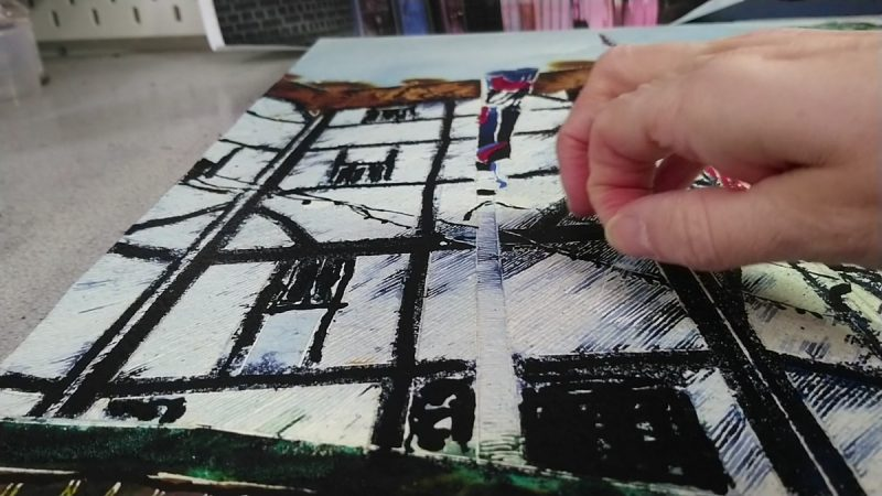 Still from video of Globe Theatre by Cathy Read painting creation.