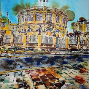 Painting of the Sheldonian Theatre in Oxford by Artist Cathy Read featuring the historic building reflected in puddles