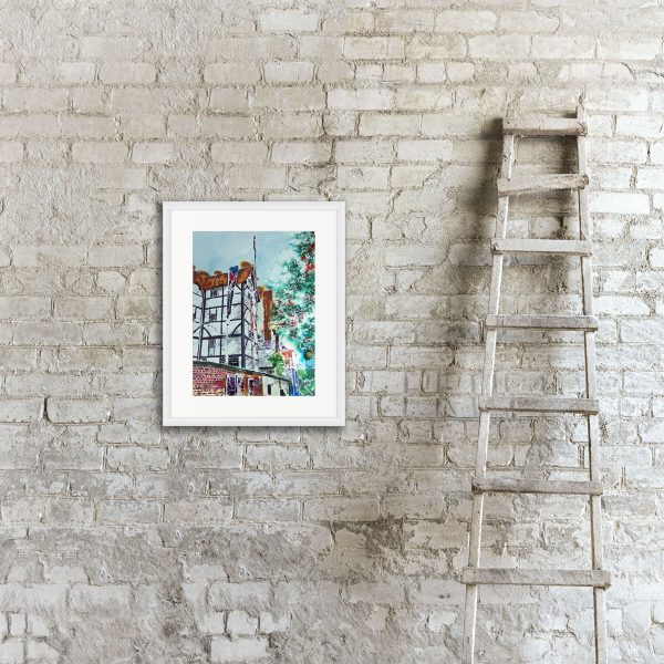 Globe Theatre painting by Cathy Read in room setting